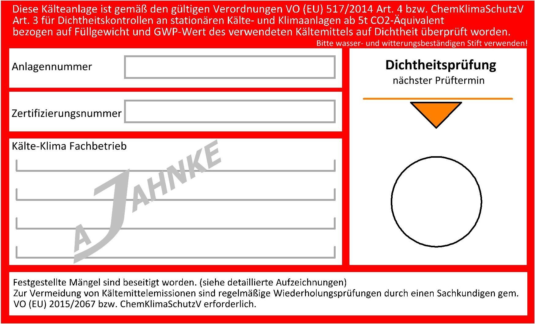 dichtheitsprfungen gem vo eu 5172014 - Bereinstimmungserklrung Muster