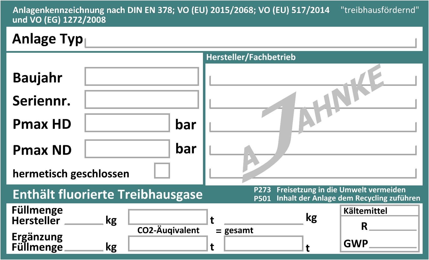 kennzeichnung von klteanlagen nach vo eu 20152068 und en 378 - Bereinstimmungserklrung Muster